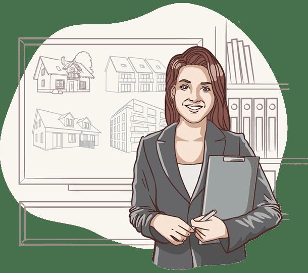 Lisa, die digitale Assistentin der Deutsche Teilkauf erklärt die verschiedenen Haustypen für den Immobilien-Teilverkauf