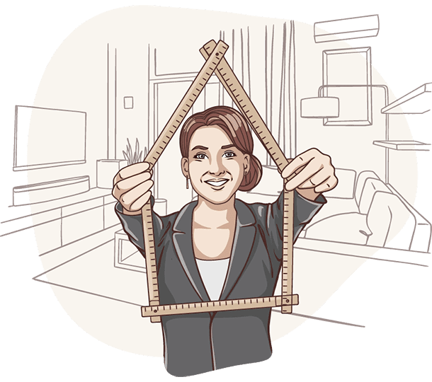 Lisa von der Deutschen Teilkauf hält einen Zollstock in der Hand und bewertet den Zustand eines Immobilien-Teilverkaufs Objekts.