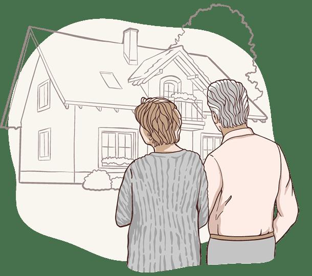Zwei Senioren betrachten ihr teilverkauftes Haus, dass sie dank Nießbrauchrecht weiter uneingeschränkt nutzen können