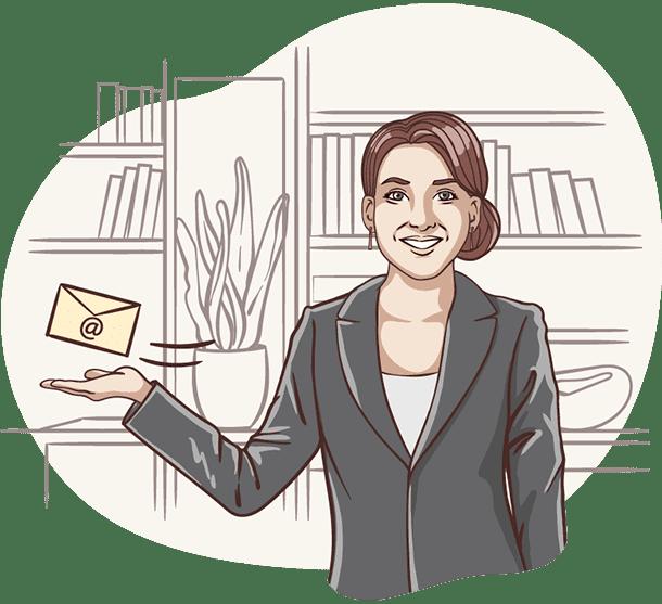 Über der Hand von Lisa von der Deutschen Teilkauf schwebt eine E-Mail über den Immobilien-Teilverkauf mit Nießbrauchrecht.