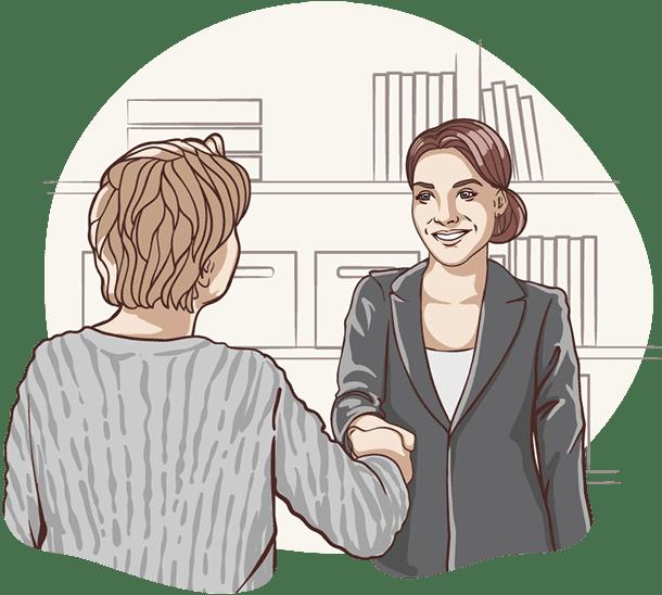 Lisa von der Deutschen Teilkauf schüttelt einer Frau nach erfolgreichen Immobilien-Teilverkauf die Hand