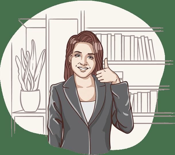 Lisa, die digitale Assistentin der Deutsche Teilkauf hält den rechten Daumen hoch