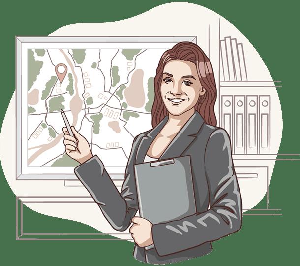 Lisa von der Deutschen Teilkauf zeigt auf einer Karte die Umgebung eines Immobilien-Teilverkaufs Objekts.