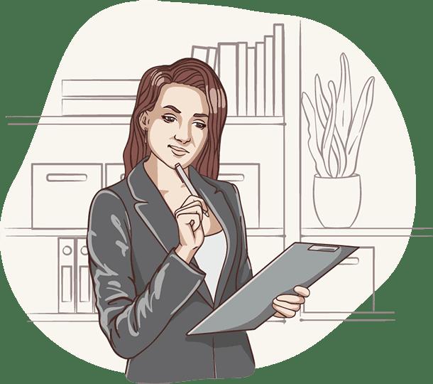 Lisa von der Deutschen Teilkauf denkt mit Klemmbrett und Stift vor Regal über einen Immobilien-Teilverkauf mit Nießbrauchrecht nach.