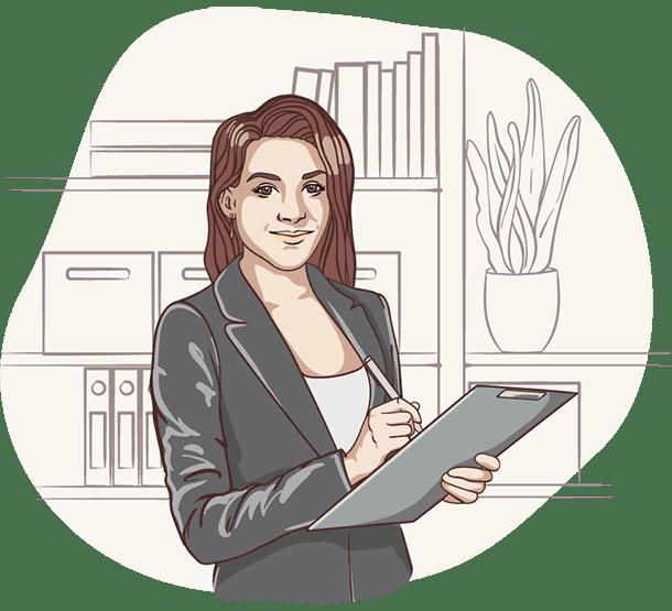 Lisa, die digitale Assistentin der Deutschen Teilkauf schreibt etwas zum Teilverkauf auf ein Klemmbrett