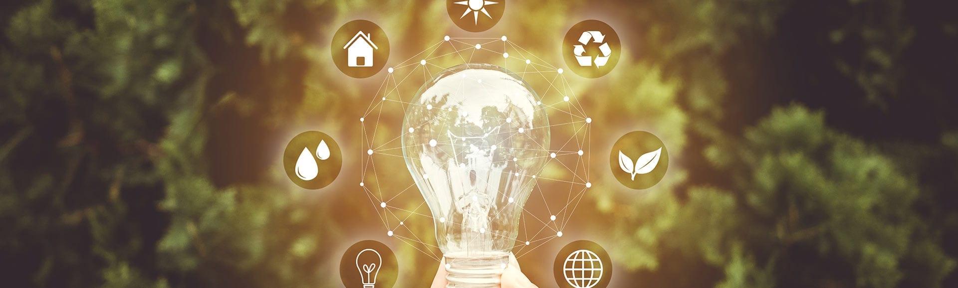 Glühbirne mit Energiesparsymbolen