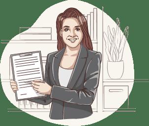 Lisa, die digitale Assistentin der Deutsche Teilkauf, zeigt einen Vertrag